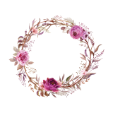 pink and purple flower wreath